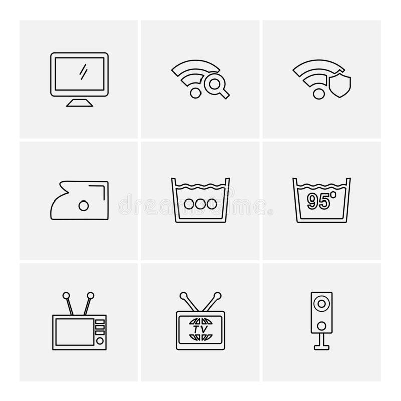 计算机,互联网,多媒体,红外线,照相机, eps象 库存例证
