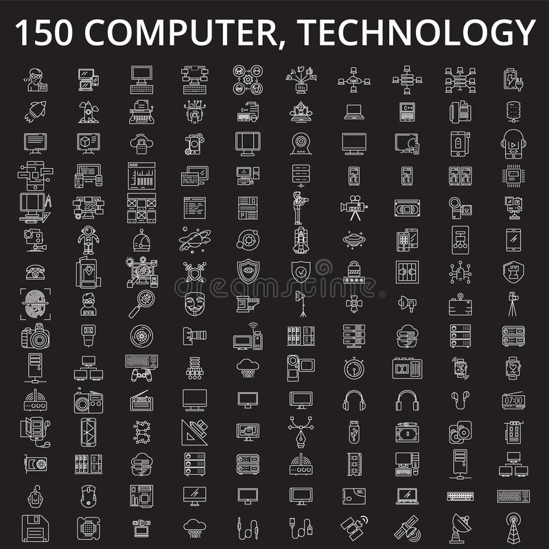 计算机,技术编辑可能的线象导航在黑背景的集合 计算机,技术白色概述 向量例证