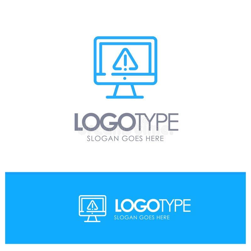 计算机,数据,信息,互联网,与地方的安全蓝色概述商标口号的 皇族释放例证