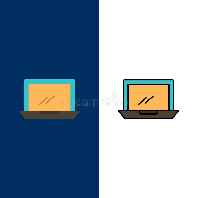 计算机,桌面,设备,硬件,个人计算机象 舱内甲板和线被填装的象设置了传染媒介蓝色背景 库存例证
