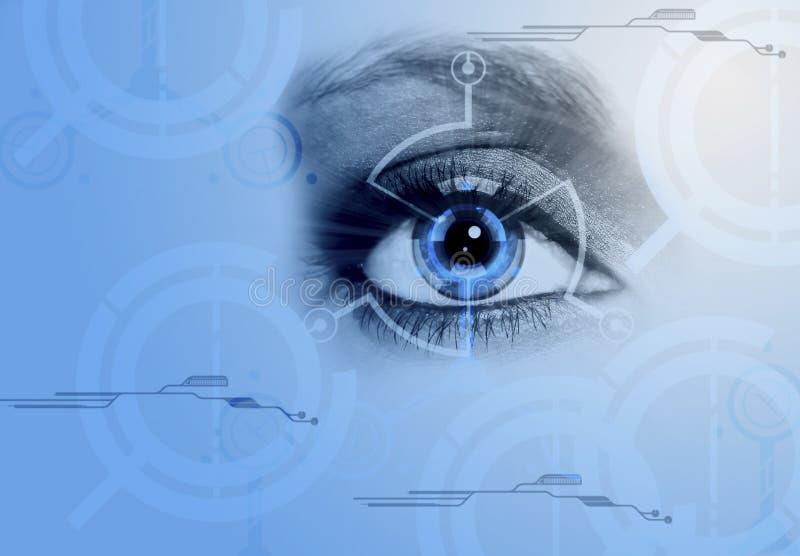 计算机,眼睛,蓝色,技术 向量例证