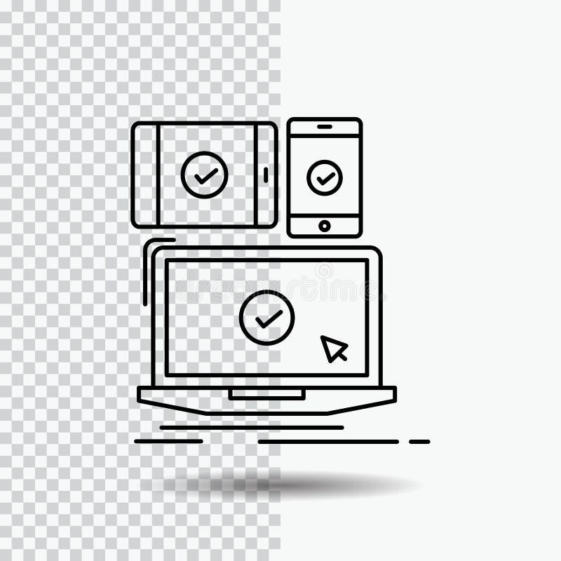 计算机,设备,流动,敏感,在透明背景的技术线象 r 向量例证