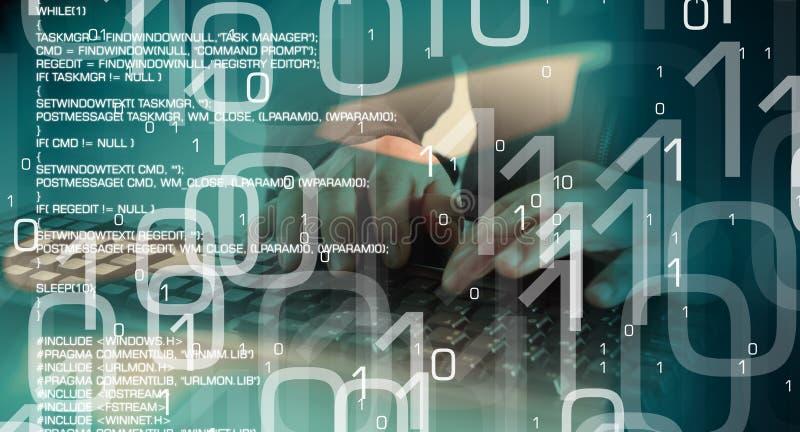 计算机黑客网络攻击,被乱砍的计算机 库存例证