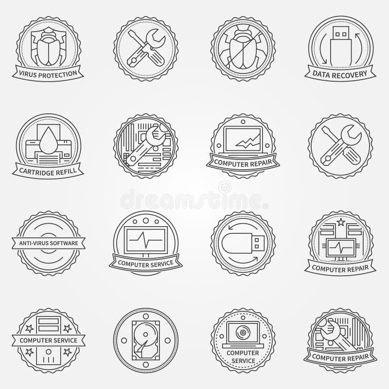 计算机维护徽章 库存例证