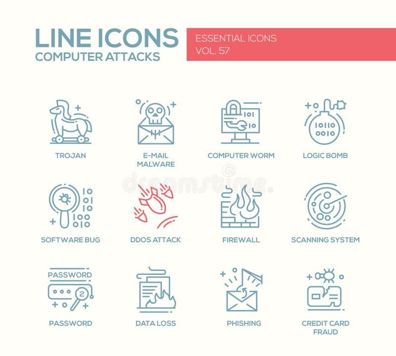 计算机攻击-线被设置的设计象 向量例证
