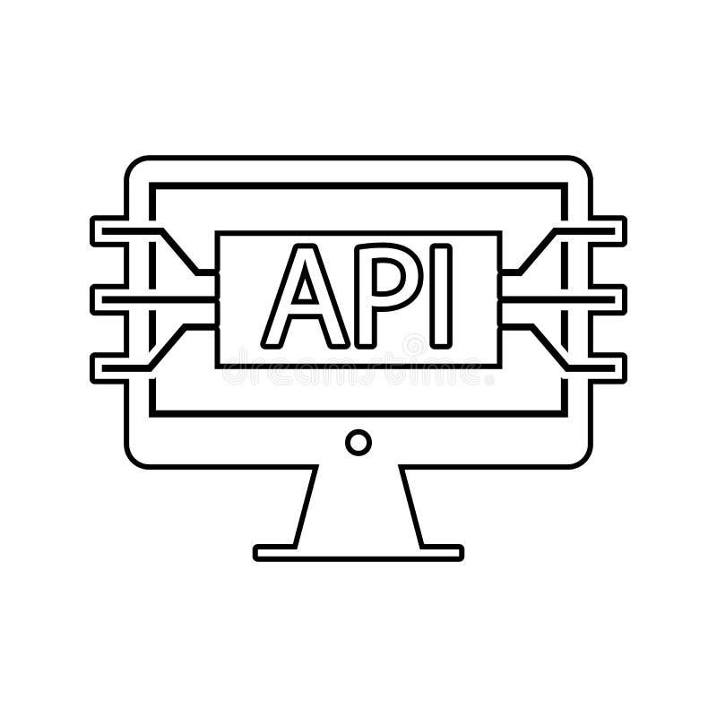 计算机api接口象 网络安全的元素流动概念和网应用程序象的 网站设计的稀薄的线象和 库存例证
