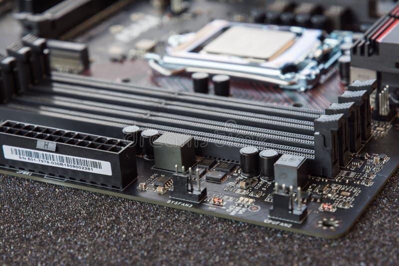 计算机Mainboard 电子电路板chemicon 库存图片