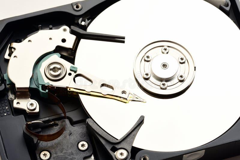 计算机sata硬盘驱动器被拆卸的特写镜头 免版税库存图片