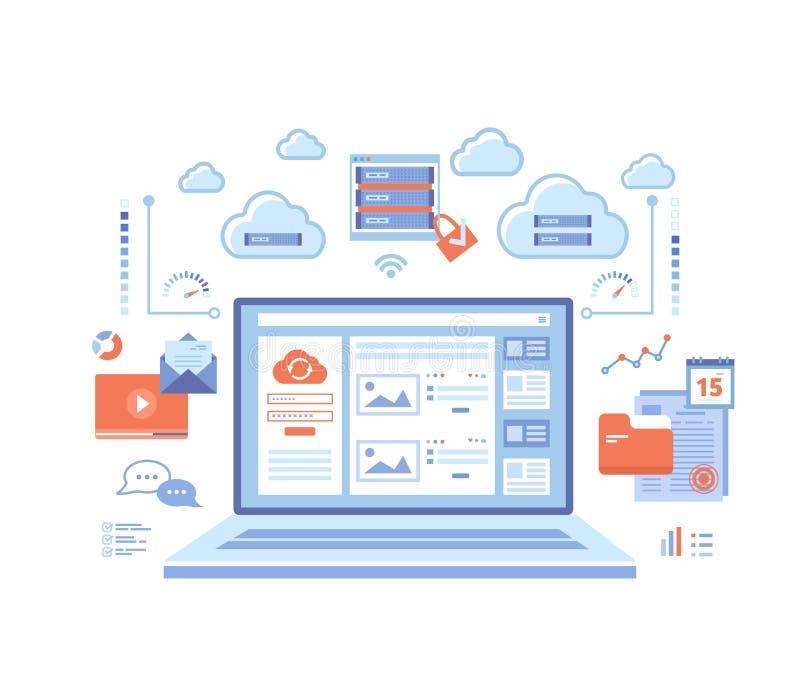 计算的云彩和网站服务,技术,数据存储,主持,连接 注册页和密码在膝上型计算机屏幕,服务器上, 向量例证
