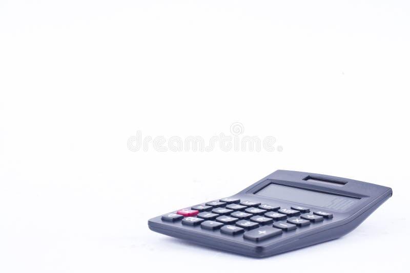 计算的数字认为的会计事务计算器在白色背景 库存图片