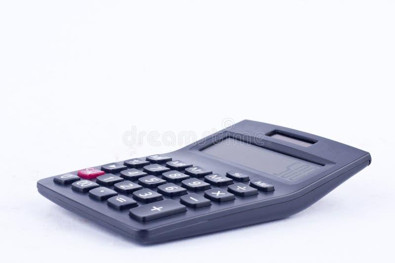 计算的数字认为的会计事务计算器在被隔绝的白色背景 库存图片