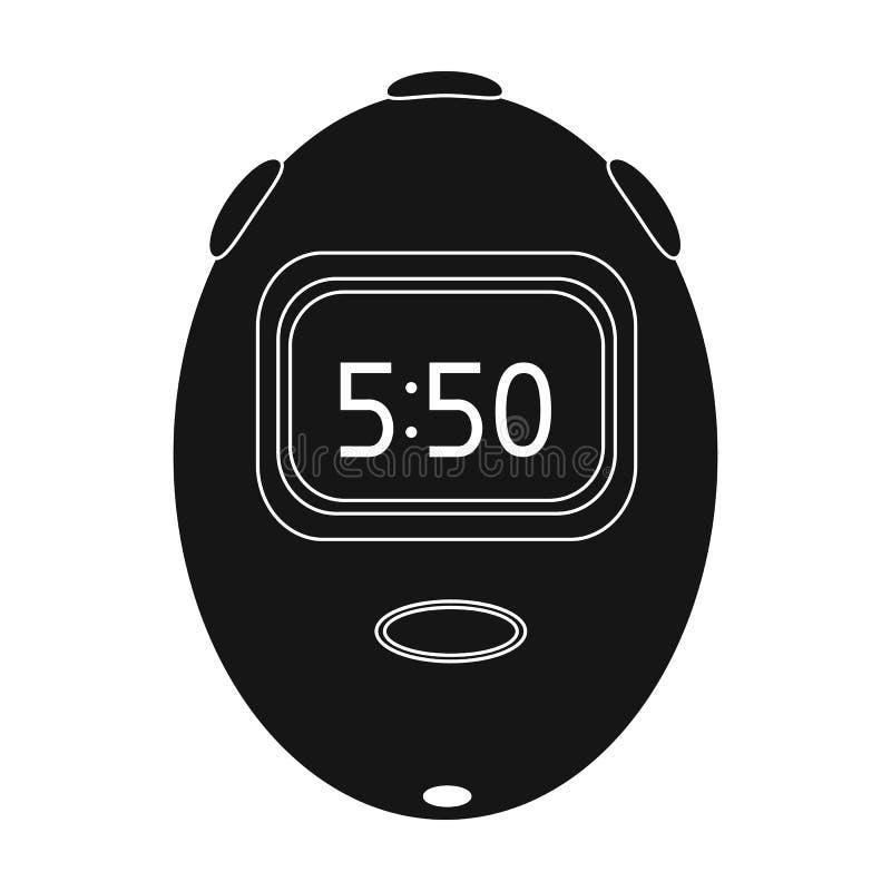 计算的时间和移动速度的秒表 骑自行车者成套装备唯一象在黑样式传染媒介标志库存 向量例证