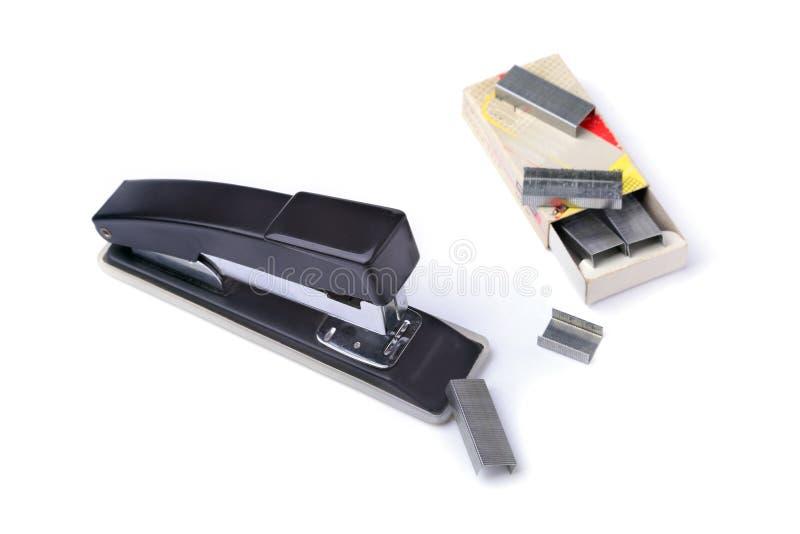 订书机用于办公室手动地连接纸 免版税库存照片