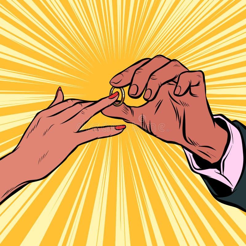 订婚、新娘和新郎婚戒 非洲人员 库存例证