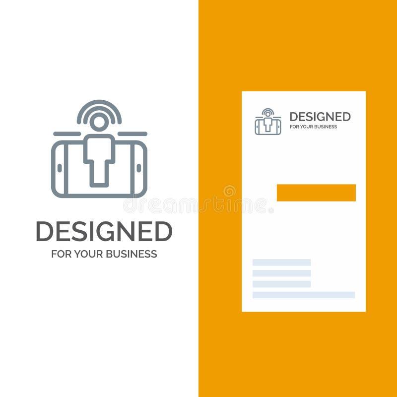 订婚、用户、用户订婚、销售的灰色商标设计和名片模板 皇族释放例证