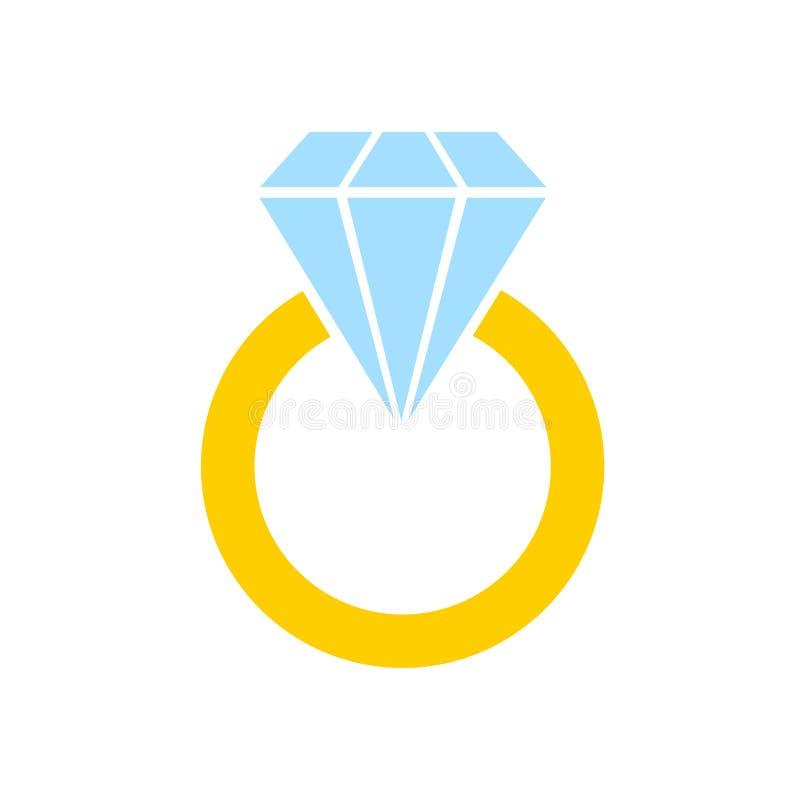 订婚与金刚石的金戒指 招呼的汽车的装饰 向量例证