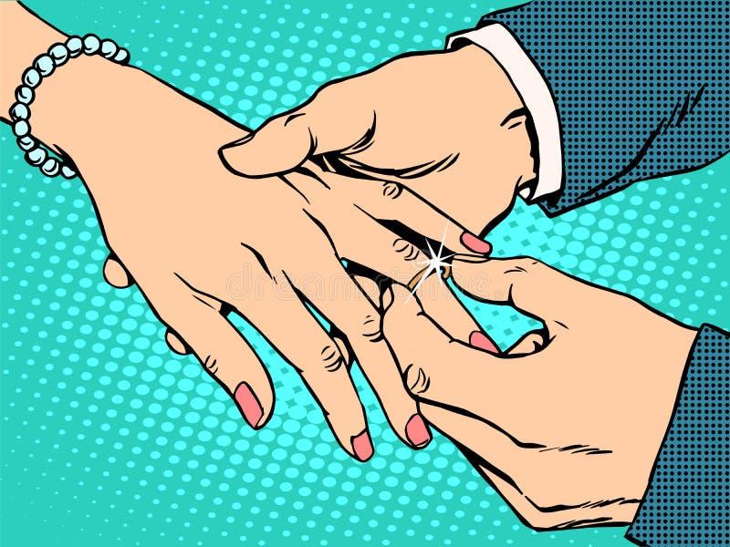 订婚婚礼新娘新郎金戒指 向量例证