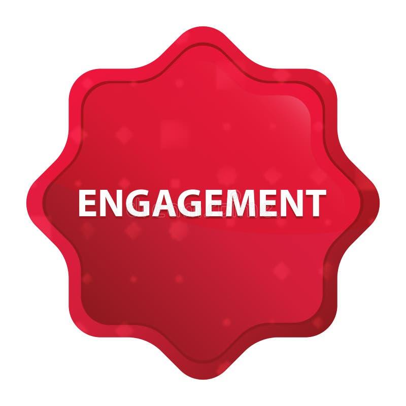 订婚有薄雾的玫瑰红的starburst贴纸按钮 库存例证
