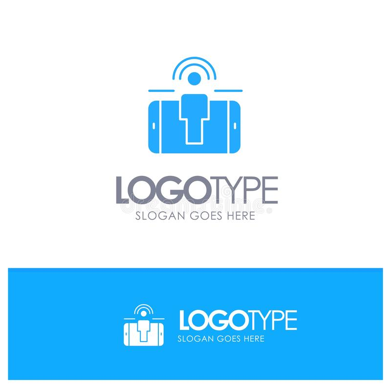 订婚,用户,用户订婚,与地方的销售的蓝色坚实商标口号的 向量例证