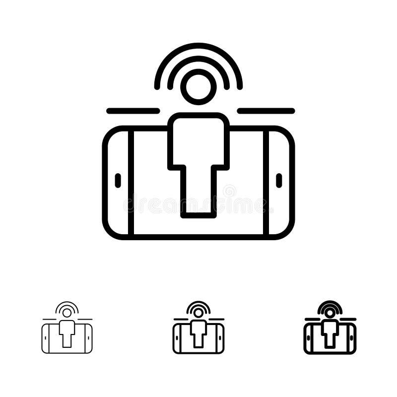 订婚,用户,用户订婚,销售大胆和稀薄的黑线象集合 库存例证