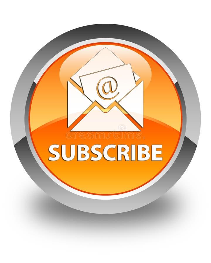订阅(时事通讯电子邮件象)光滑的橙色圆的按钮 皇族释放例证