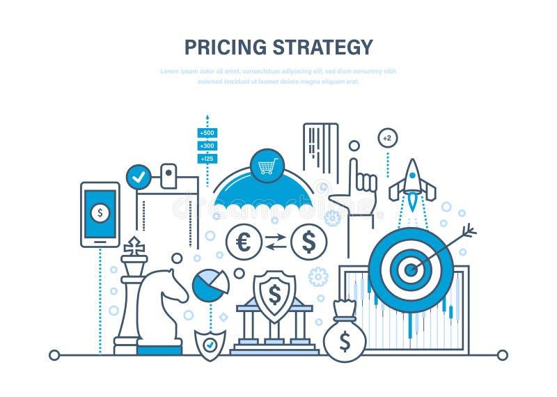 订价战略,时间安排,营销,计划,研究,储蓄,财政成长 向量例证