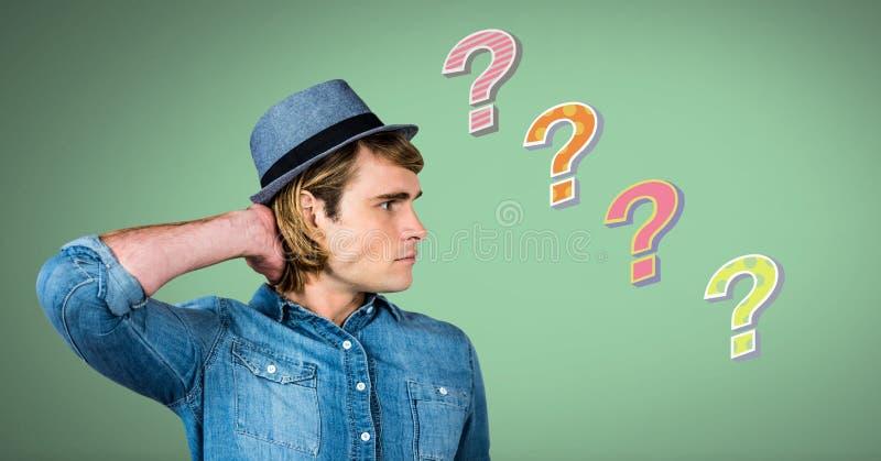 认为与五颜六色的质朴的问号的人 库存例证