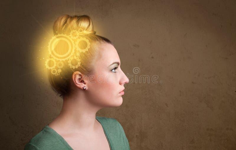 认为与机器头例证的聪明的女孩 免版税库存图片