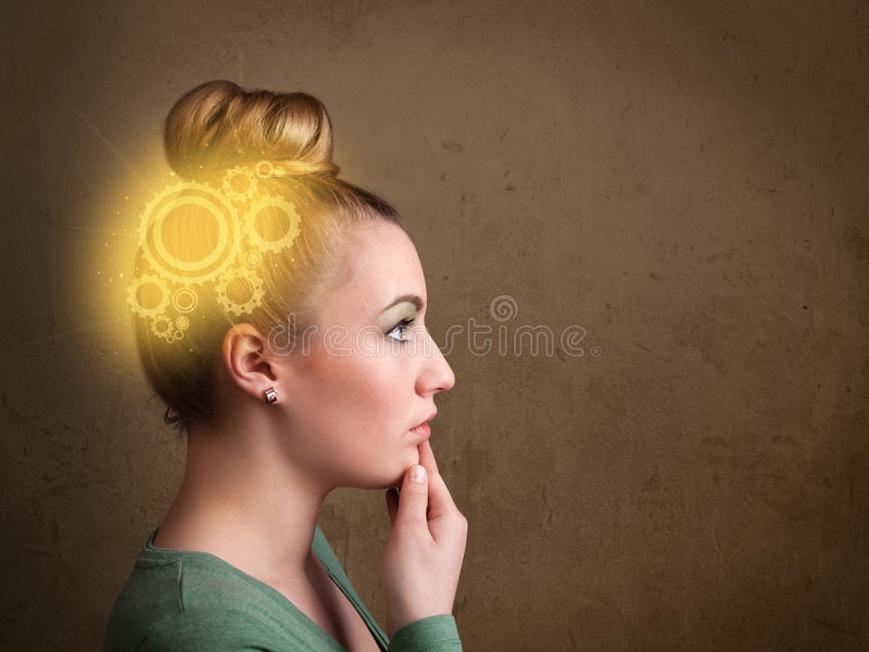 认为与机器头例证的聪明的女孩 库存图片