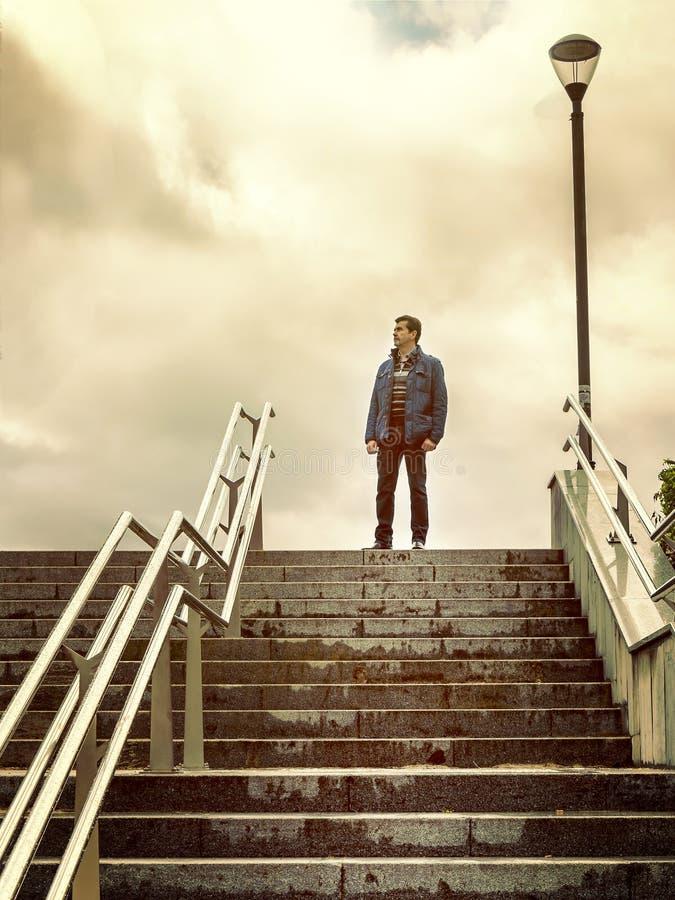 认为在梯子顶部的孑然成人人 图库摄影
