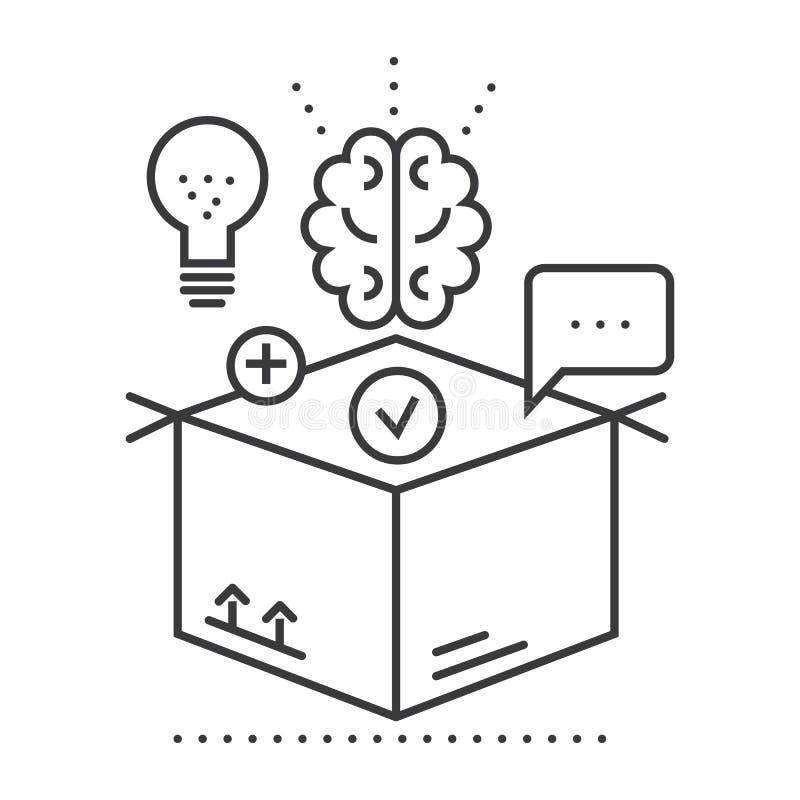 认为在箱子之外,想法管理传染媒介线象,标志,在背景,编辑可能的冲程的例证 向量例证