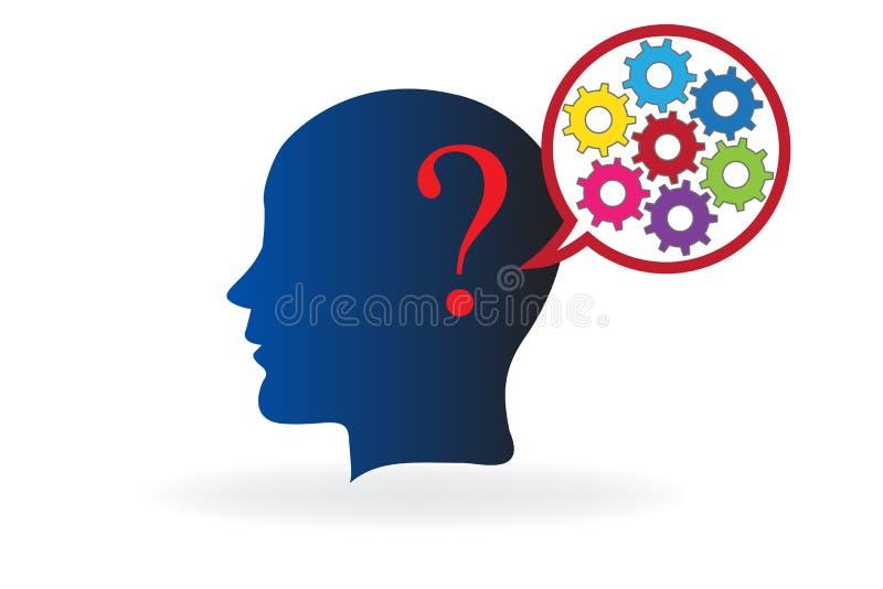 认为在解答商标传染媒介的聪明的脑子 向量例证