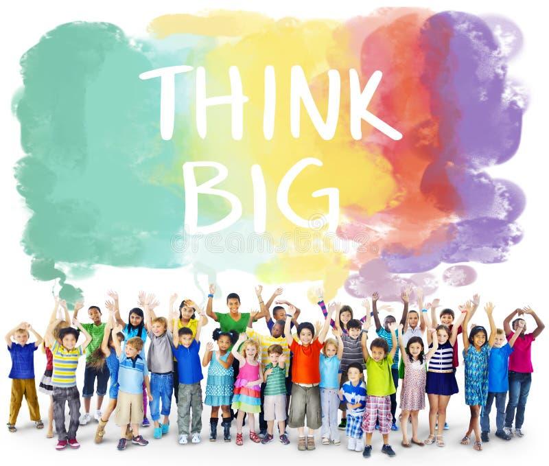 认为大态度创造性的启发乐观概念 库存图片