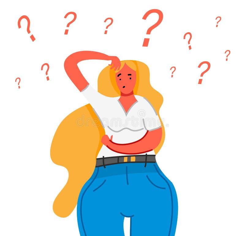 认为的妇女年轻人 体贴的人民了解问题 沉思企业夫人发现成功的解答 逗人喜爱 库存例证