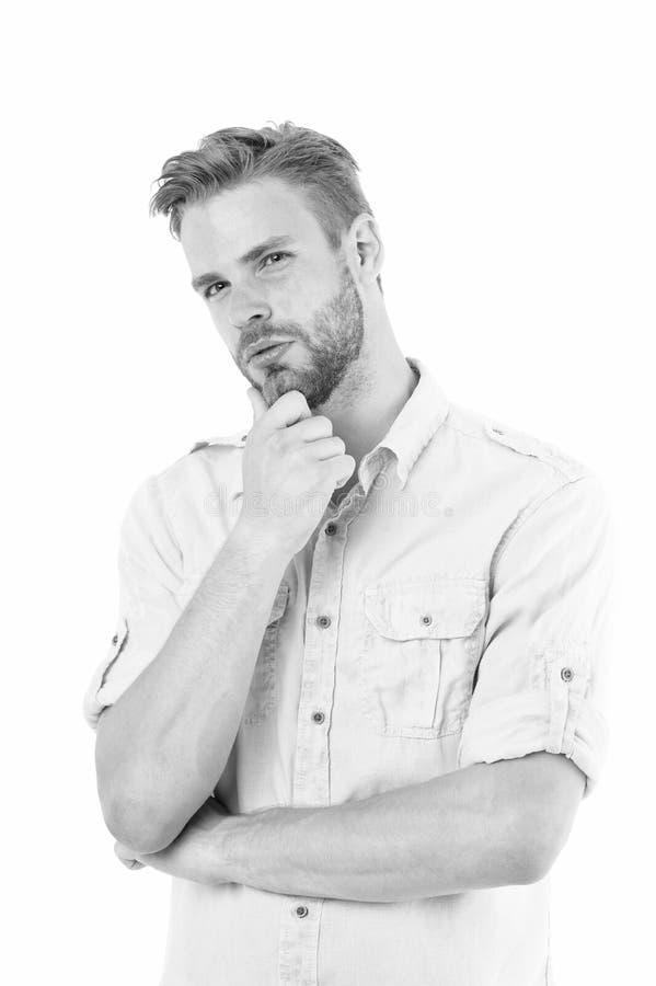 认为解决 接近解答 人有刺毛严肃的面孔想法的白色背景 人周道的接触他的 免版税图库摄影