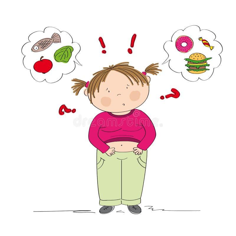 认为食物的半信半疑的肥胖女孩,设法决定怎样吃 库存例证