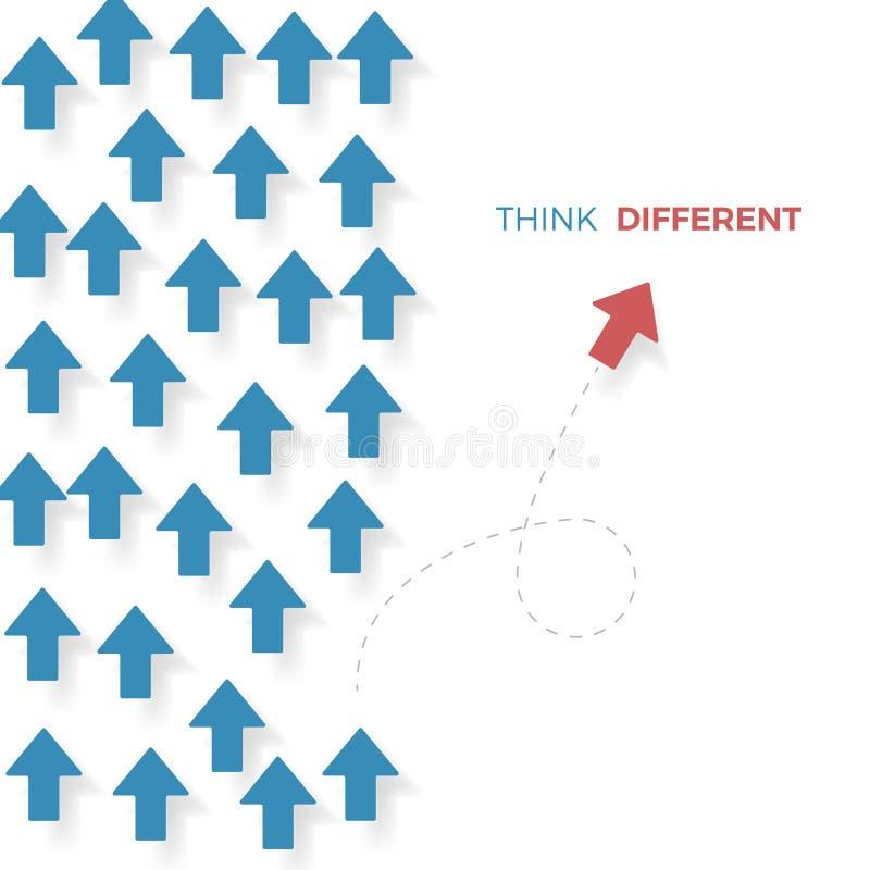认为,一个红色箭头移动不同的方式与蓝色箭头不同 到达天空的企业概念金黄回归键所有权 也corel凹道例证向量 向量例证