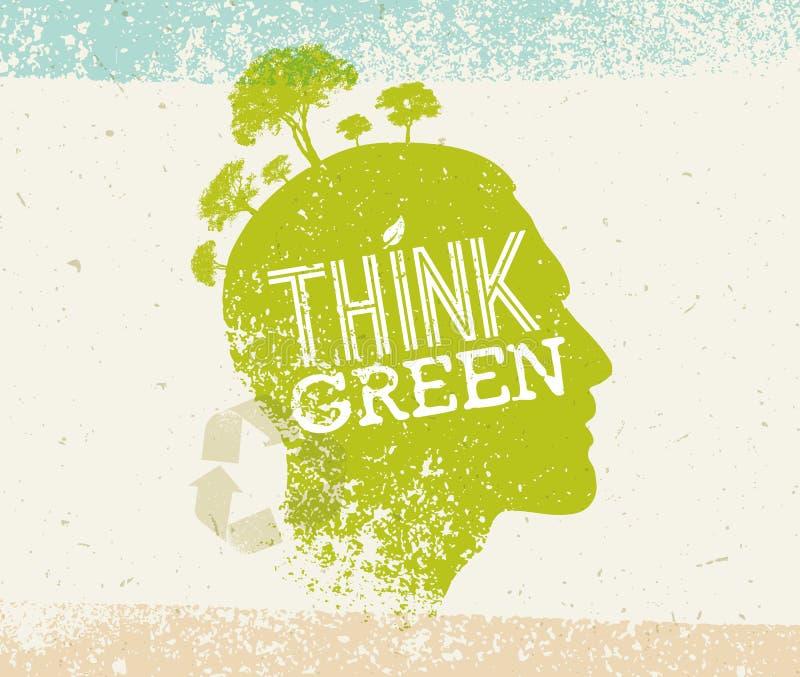 认为绿色回收减少再用Eco海报 在纸背景的传染媒介创造性的有机例证 向量例证