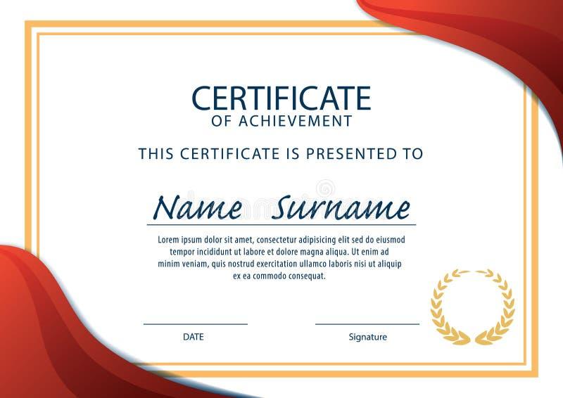 认可模板,文凭, A4大小,传染媒介 向量例证