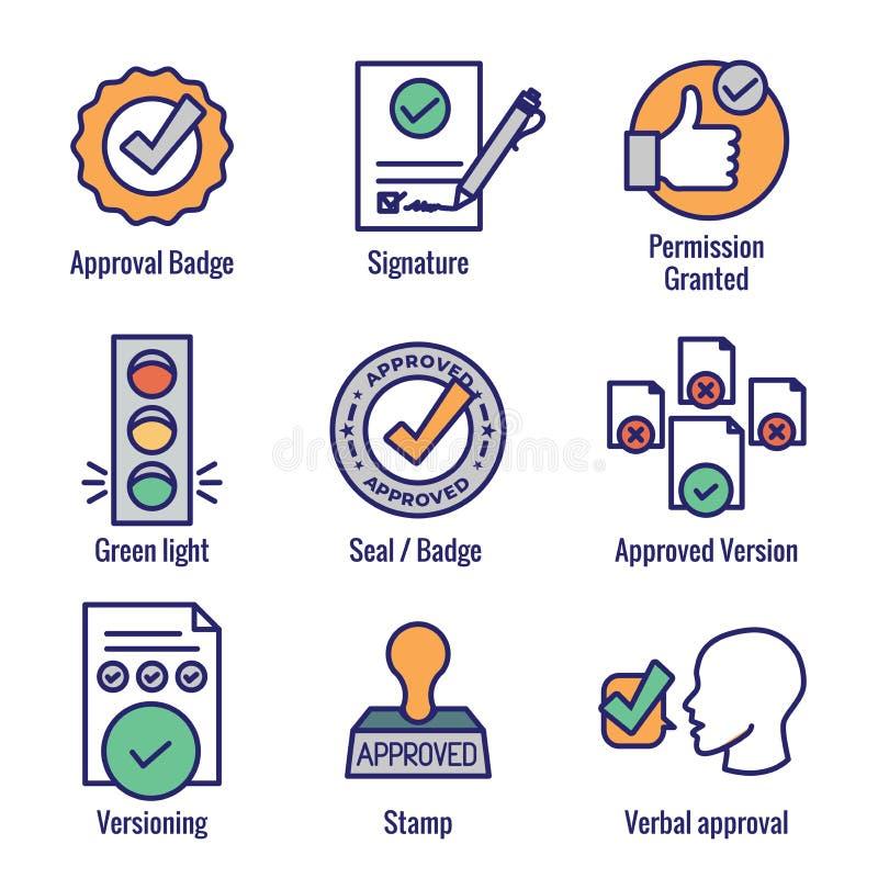 认同和署名象集合-邮票和版本象 库存例证