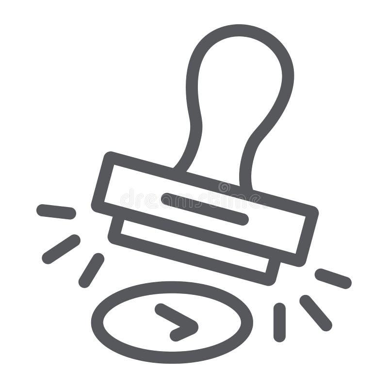 认同邮票线象,准许和模子,不加考虑表赞同的人标志,向量图形,在白色背景的一个线性样式 库存例证