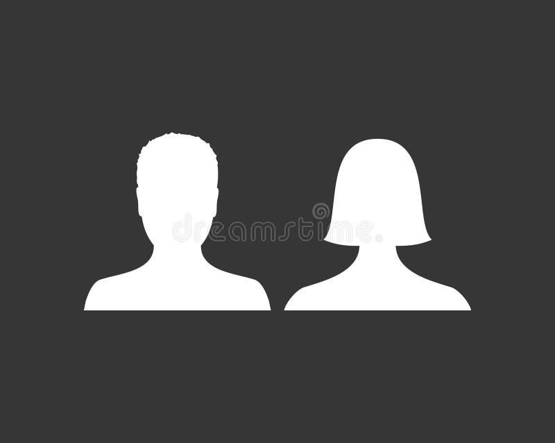 默认男性和女性具体化外形图片象 男人和妇女照片占位符 向量例证