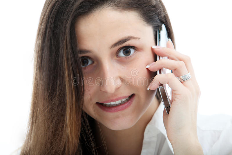 认真移动电话联系的妇女 图库摄影