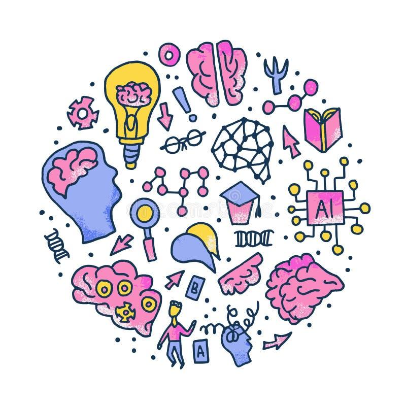认知科学概念 设置传染媒介元素 库存例证