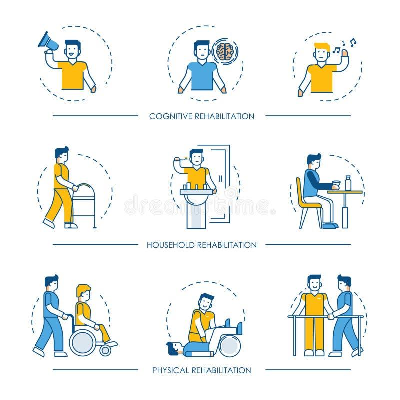 认知,物理和家庭修复医学疗法的修复传染媒介人的人象 向量例证