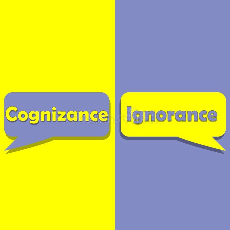 认识或无知在词在教育、启发和企业刺激 向量例证