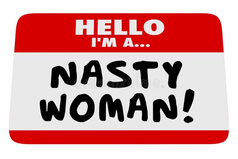 讨厌的妇女你好我是名牌骄傲的男女平等主义者 库存例证