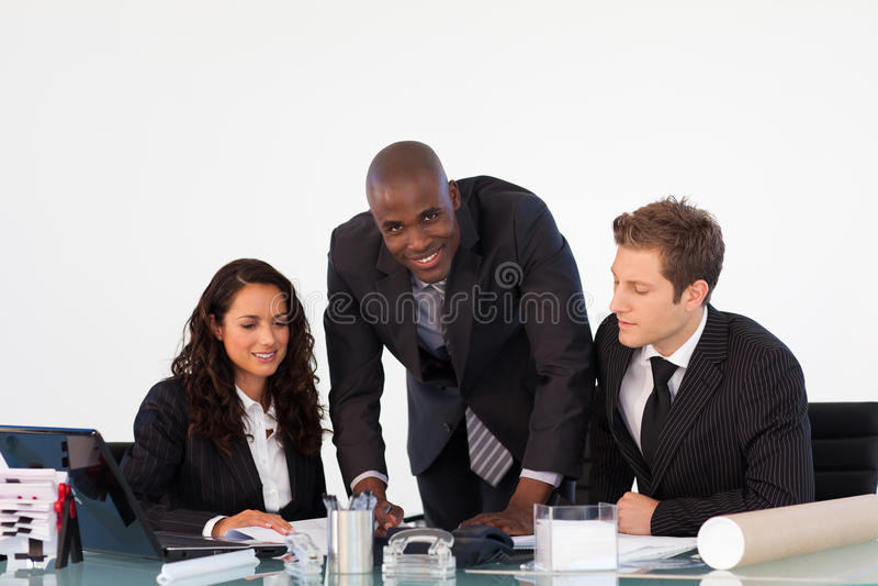 讨论的商业新的计划小组 图库摄影
