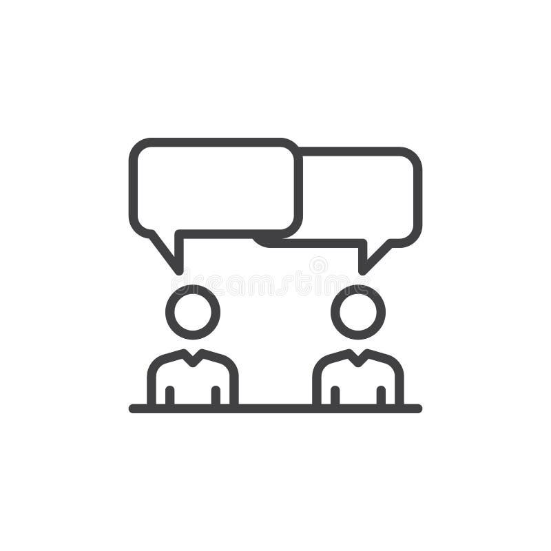 讨论,争执线象,概述传染媒介标志,在白色隔绝的线性样式图表 标志,商标例证 编辑可能 向量例证