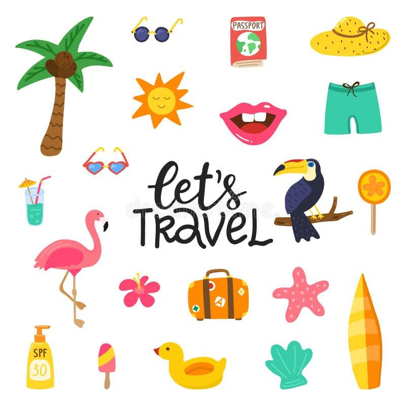 让与夏天元素的旅行手拉的行情 与乱画火鸟,花,热带水果的夏天设计,toucan 库存例证